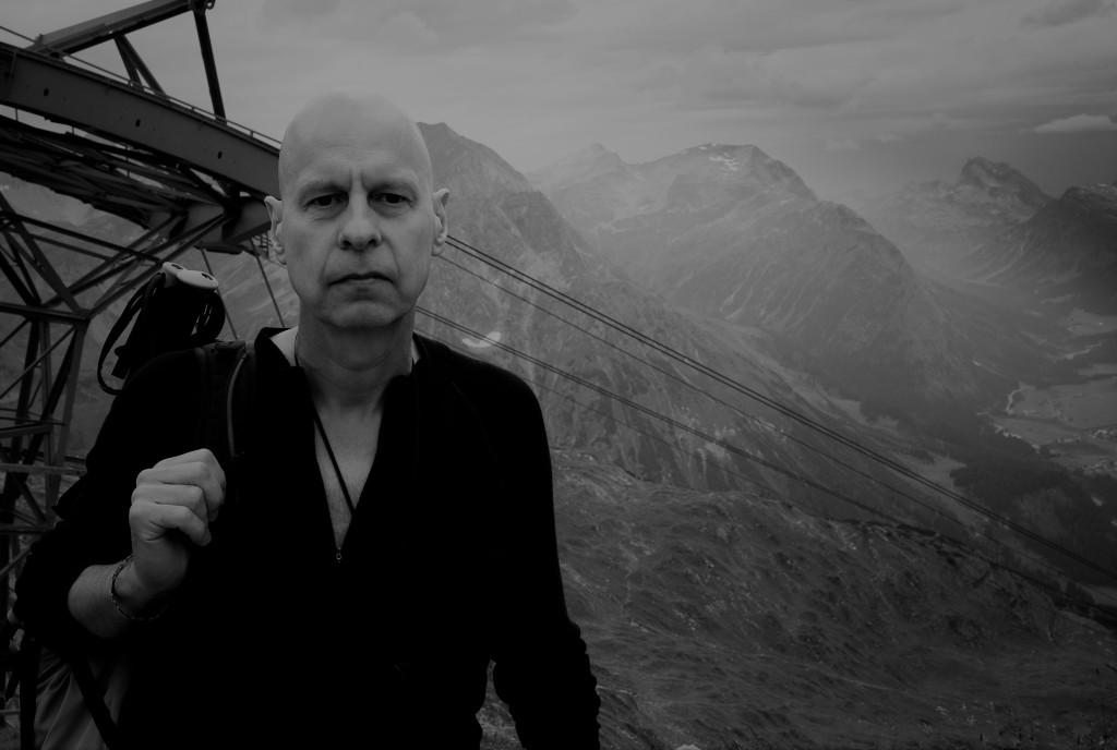Gareth Jones on a mountain above Lech by Daniel Miller, February 2009